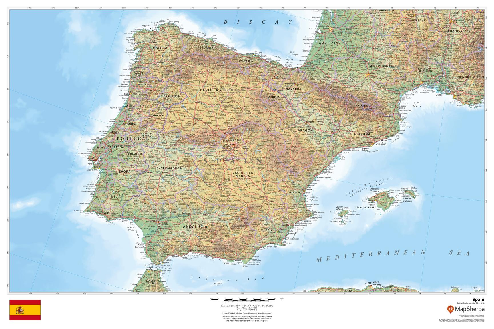 Small Map Of Spain.Spain