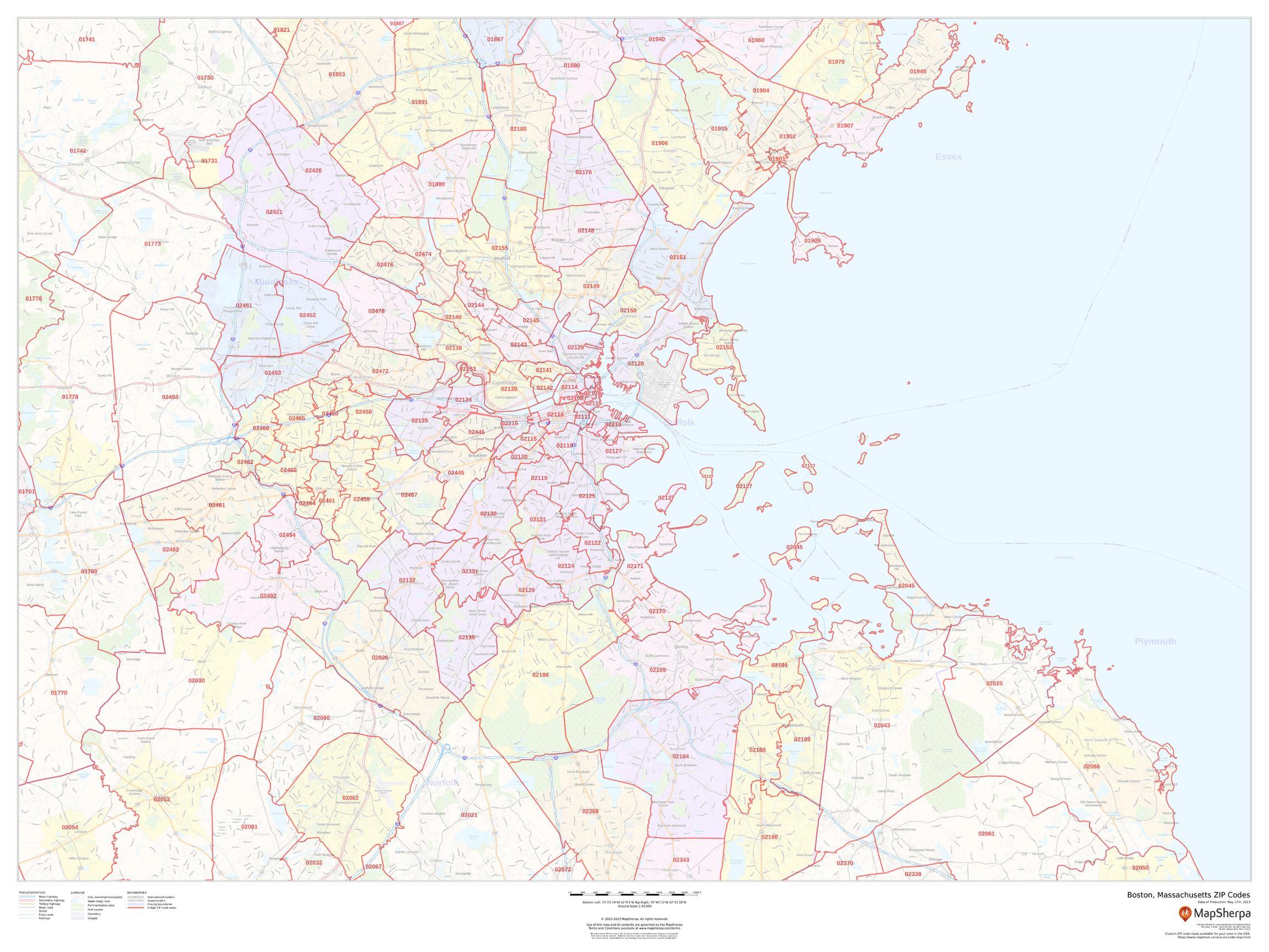 zip code map boston Boston Massachusetts Zip Codes zip code map boston