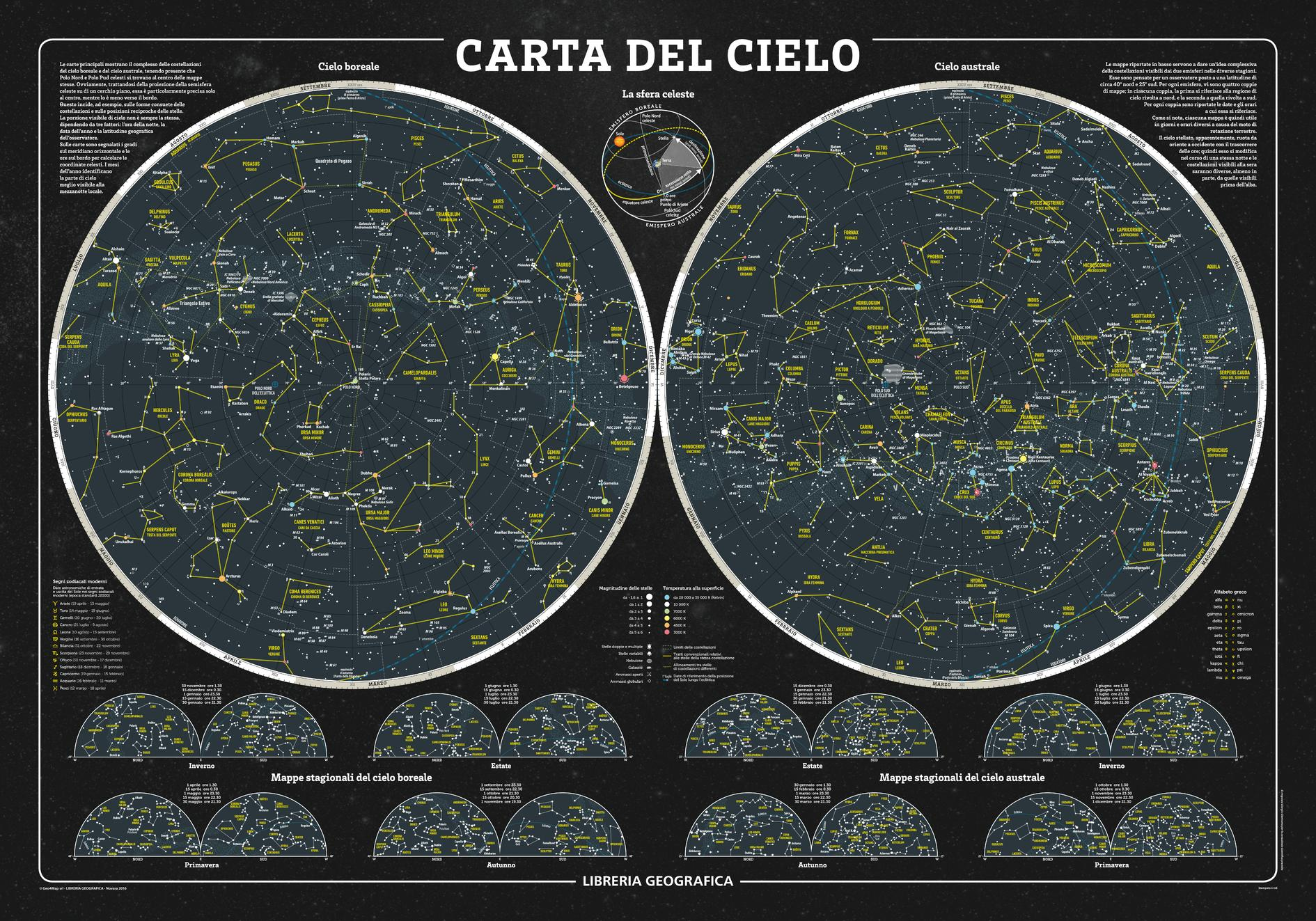 The Sky Wall Map Italian - Constellation wall map