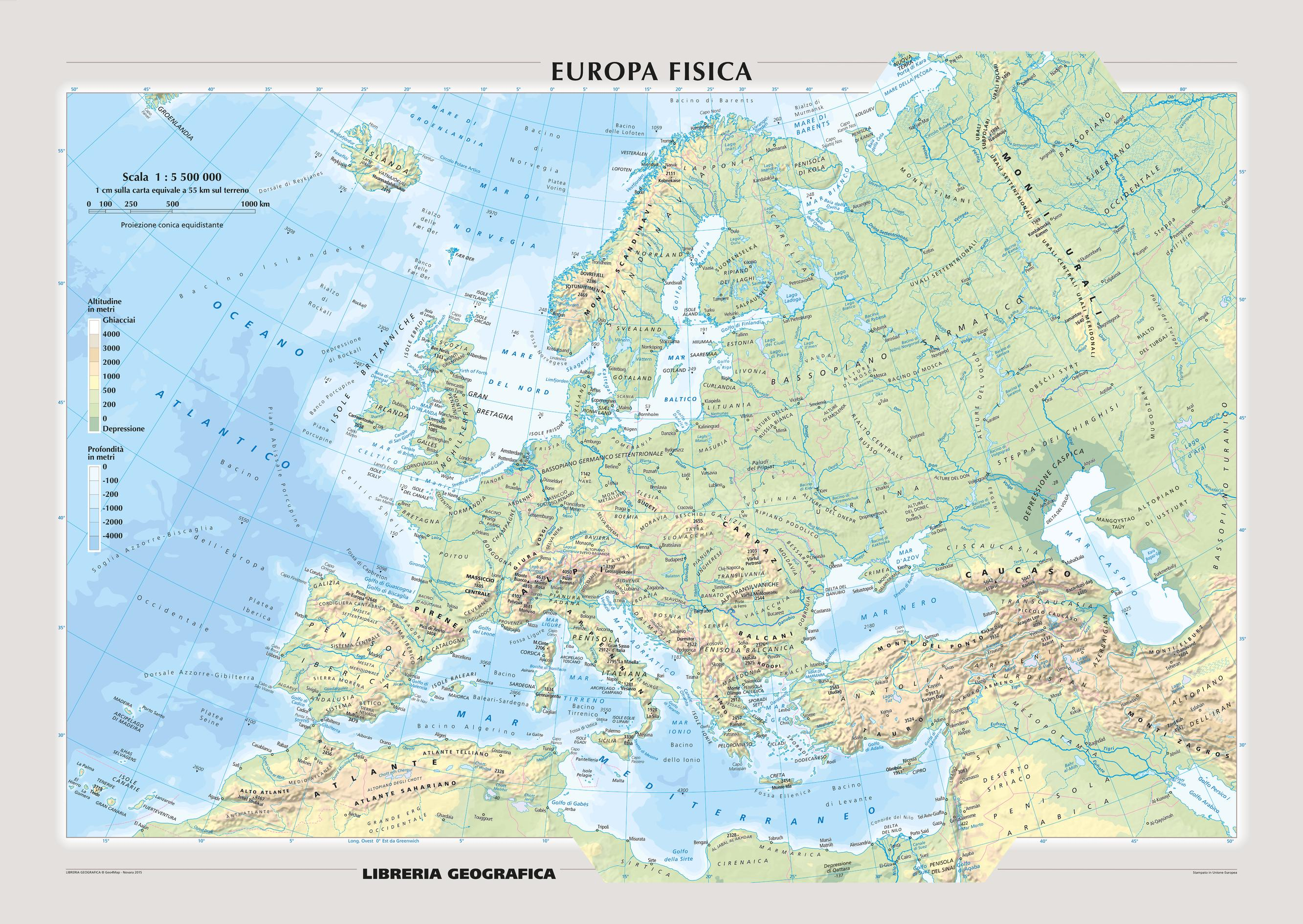Physical Europe Wall Map - Italian