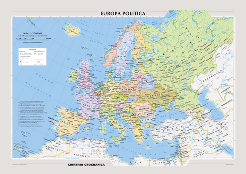 Political Europe Wall Map - Italian