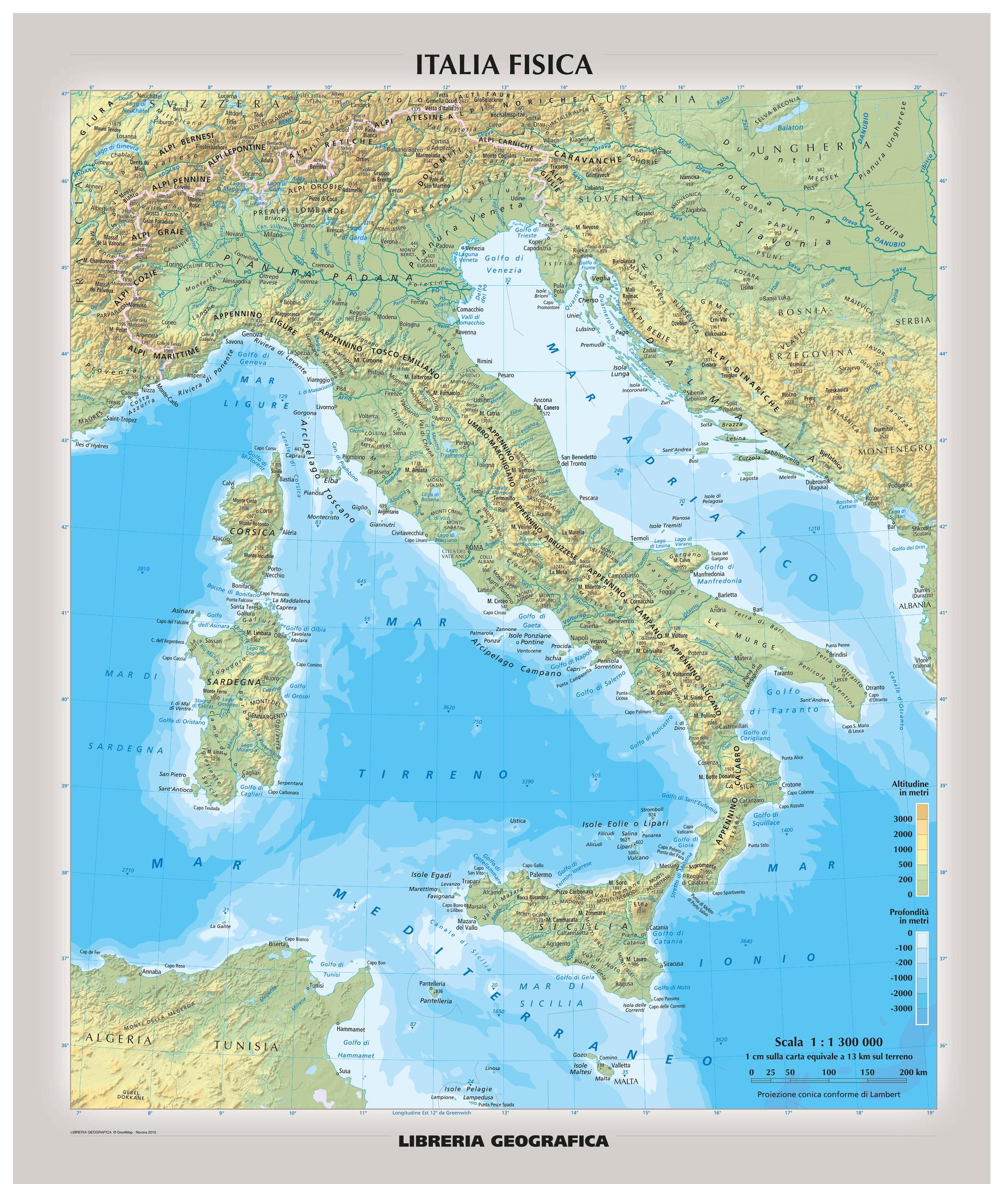 Large Map Of Italy.Physical Italy Wall Map Italian