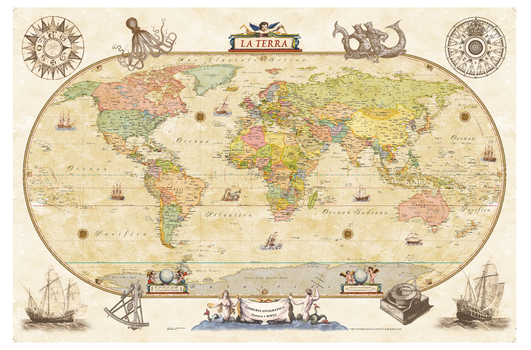 Political World Wall Map - Antique Style - Italian