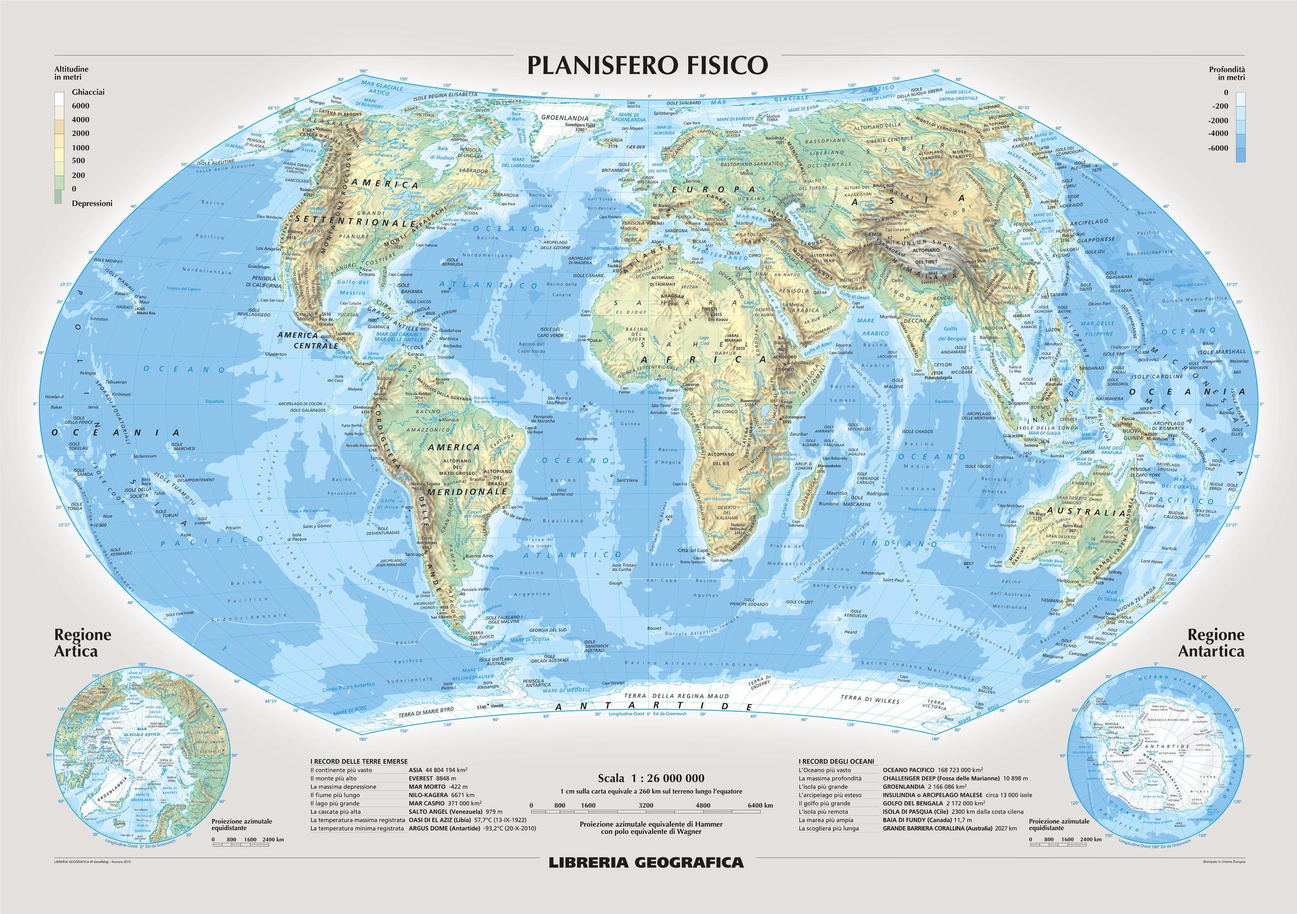 Physical World Wall Map - Italian