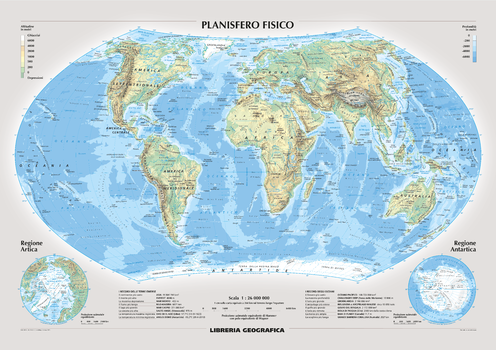 Physical World Wall Map - Italian