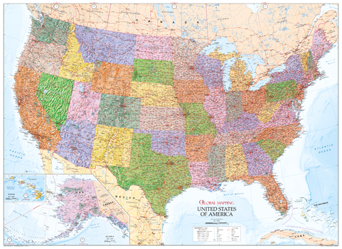 USA Wall Map - State Map with Relief