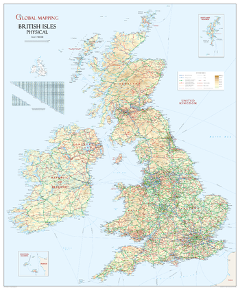British Isles Physical Wall Map