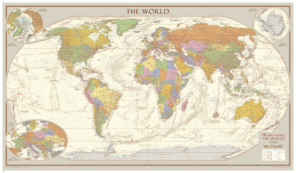 Antique Style World Map - Medium