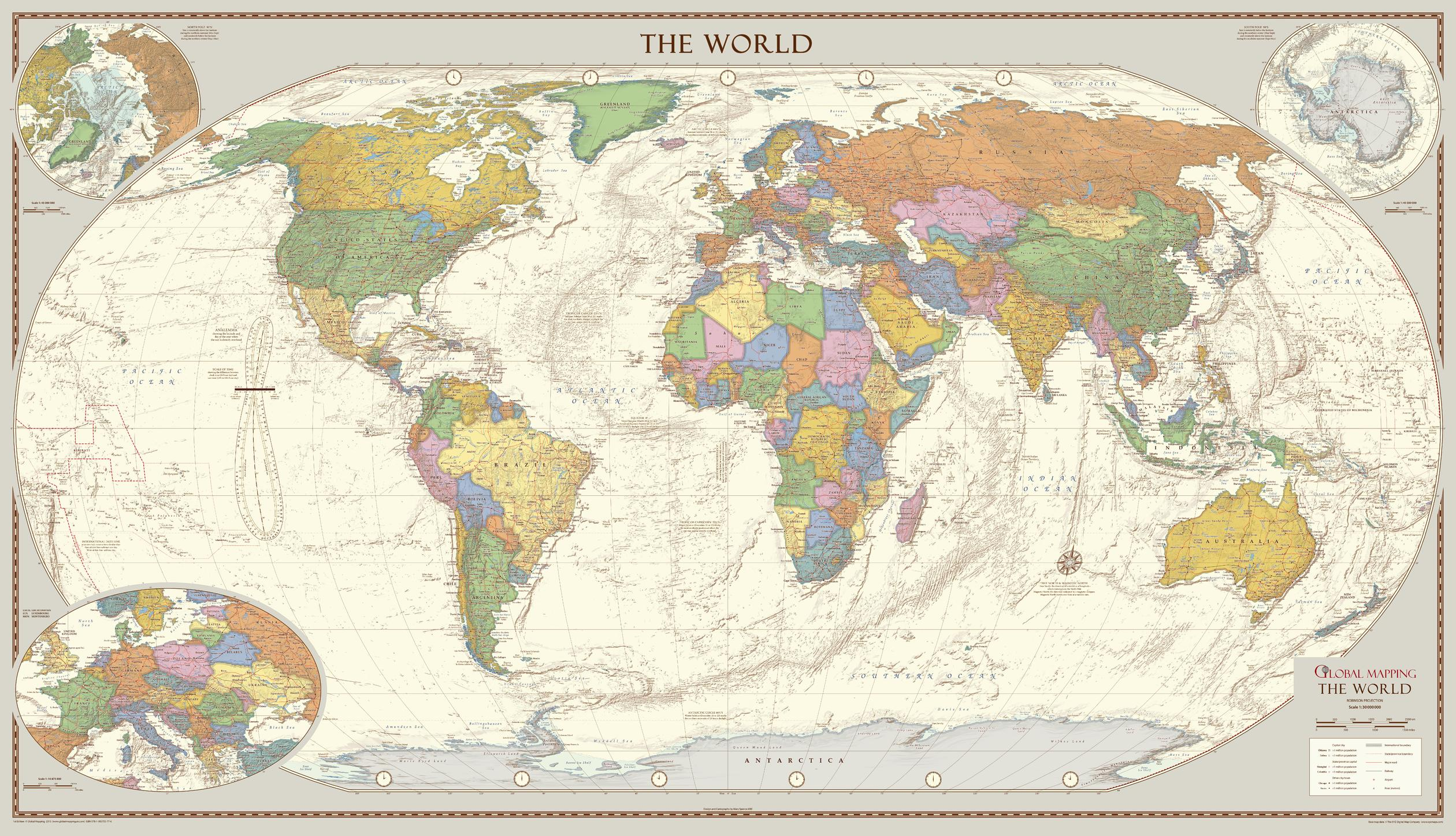 Antique Style World Map - Large