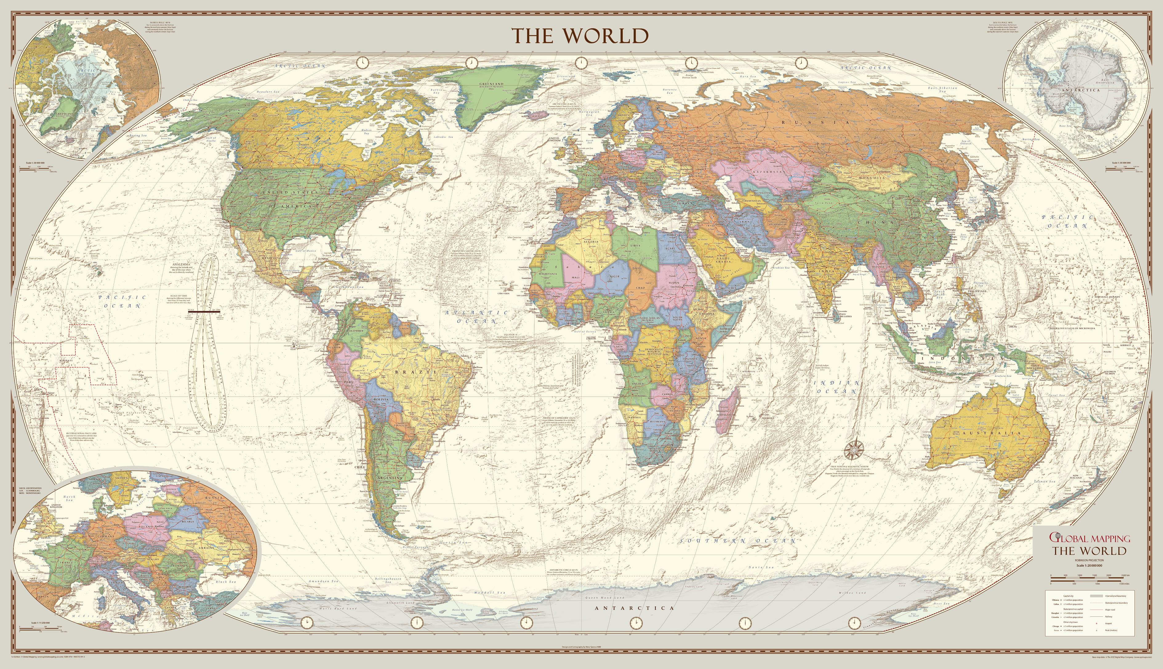 Antique Style World Map - Extra Large