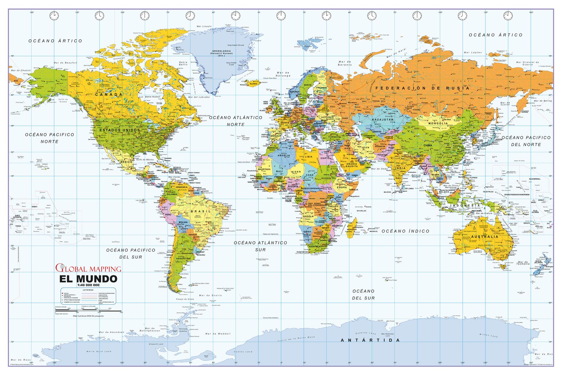 Political world wall map spanish language gumiabroncs Image collections