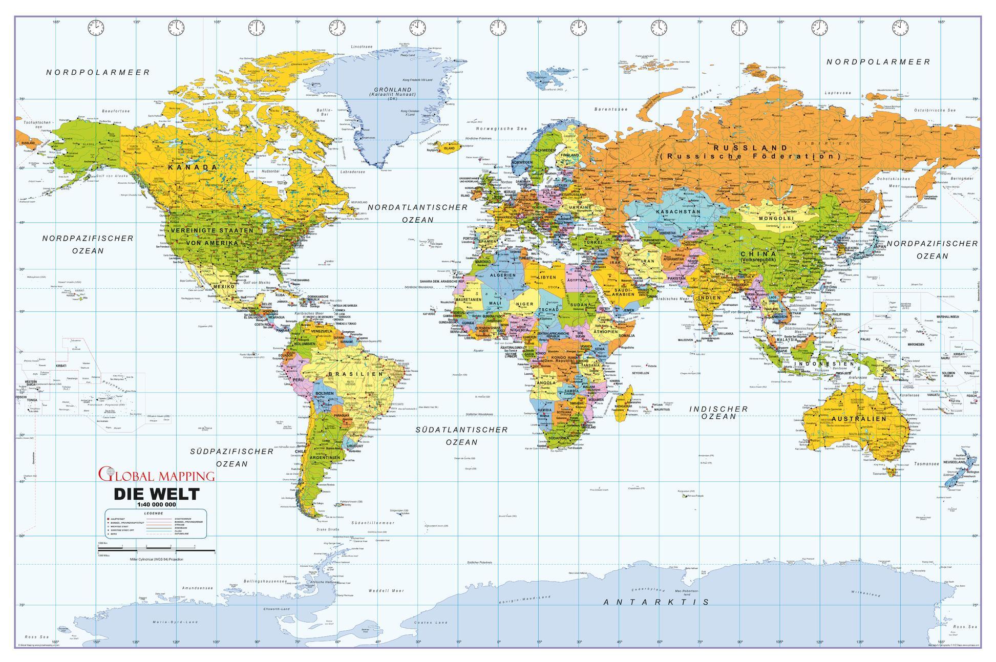 Political World Wall Map, German Language