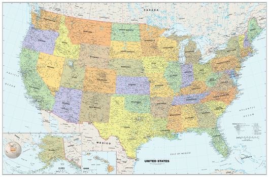 Classic USA Wall Map