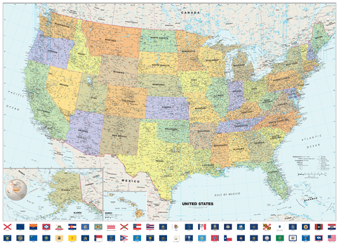 Classic USA Wall Map with Flags