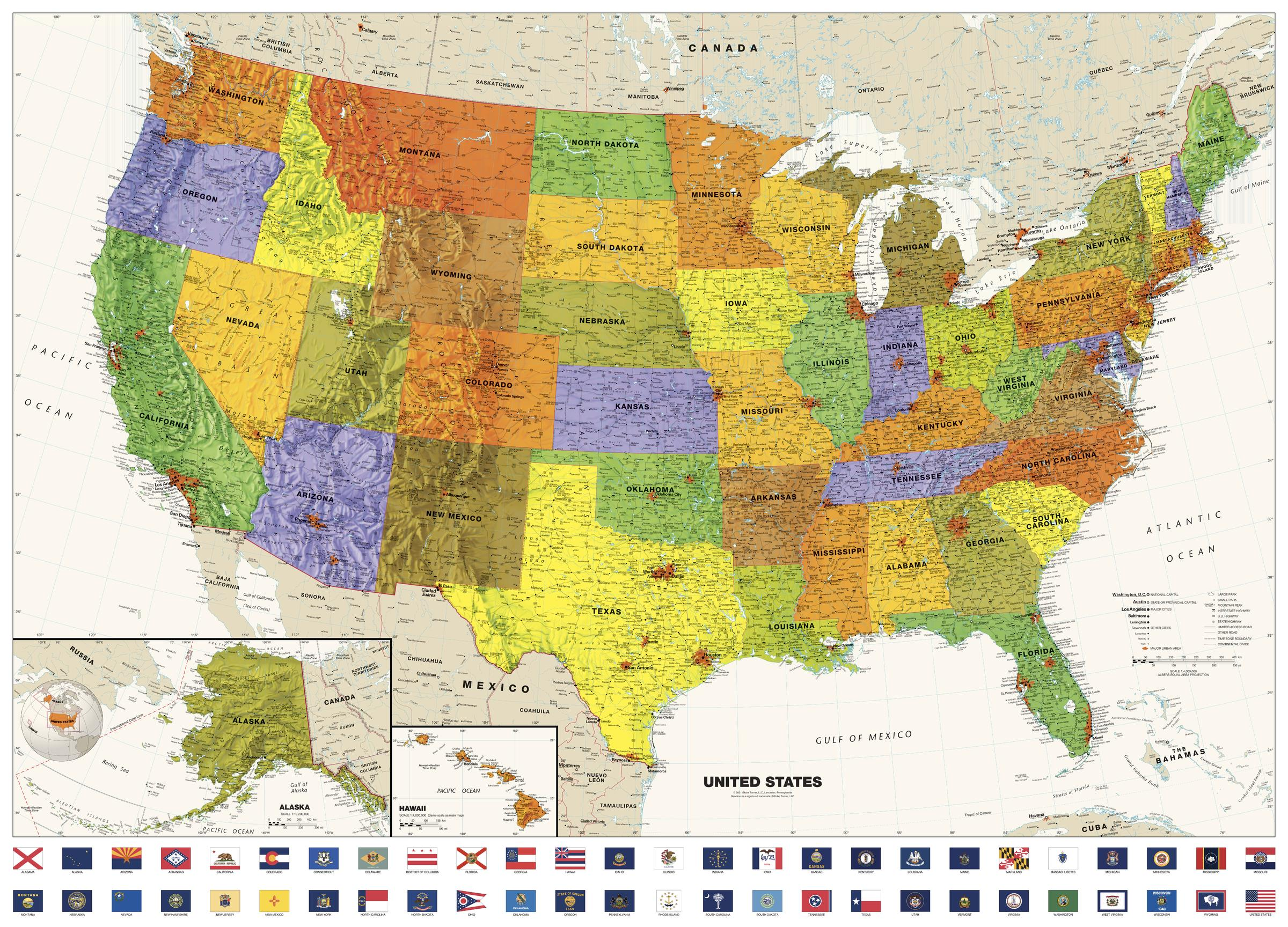 Contemporary USA Wall Map with Flags