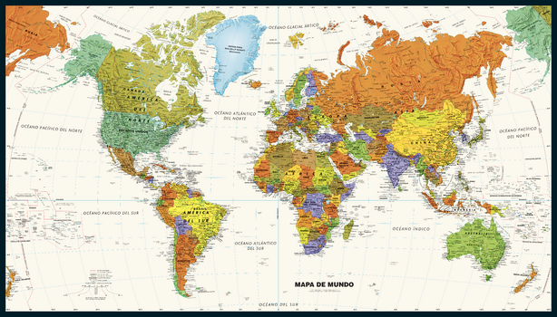 Contemporary World Wall Map in Spanish