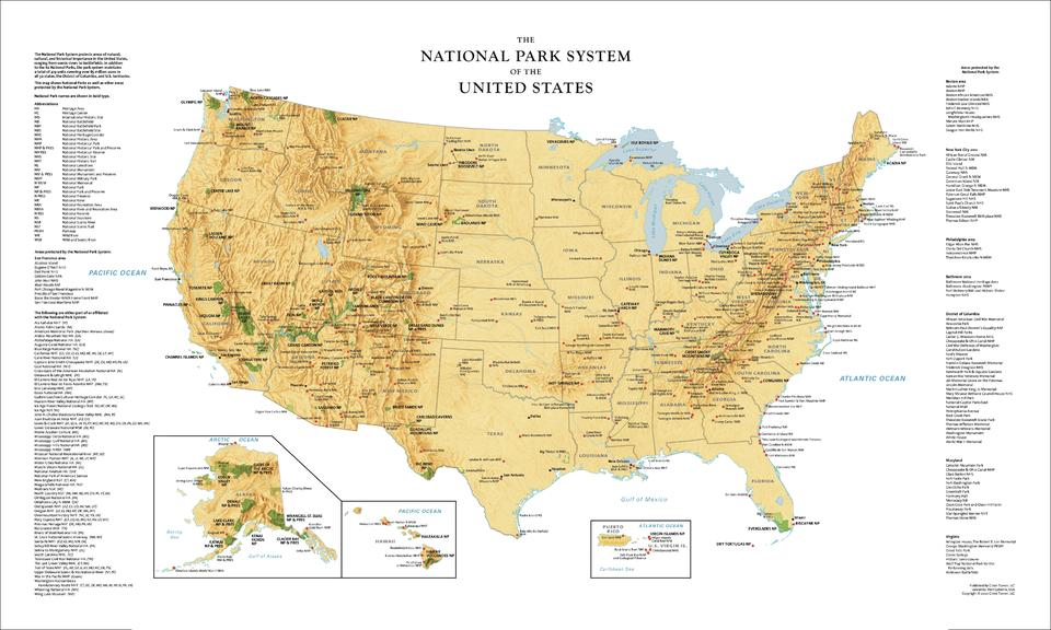 USA National Park Service Wall Map