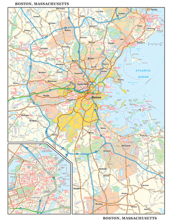 Boston, Massachusetts Wall Map