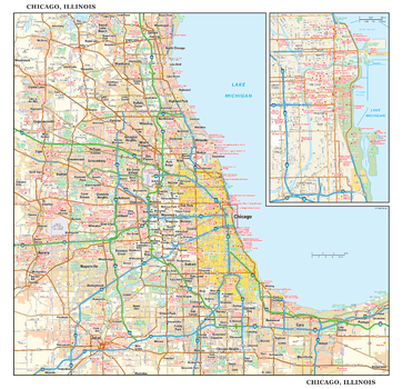 Chicago, Illinois Wall Map, small