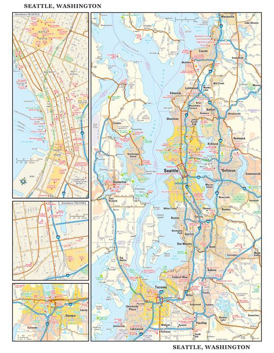 Seattle, Washington Wall Map