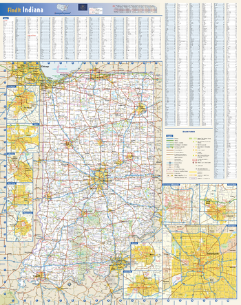 Indiana State Wall Map