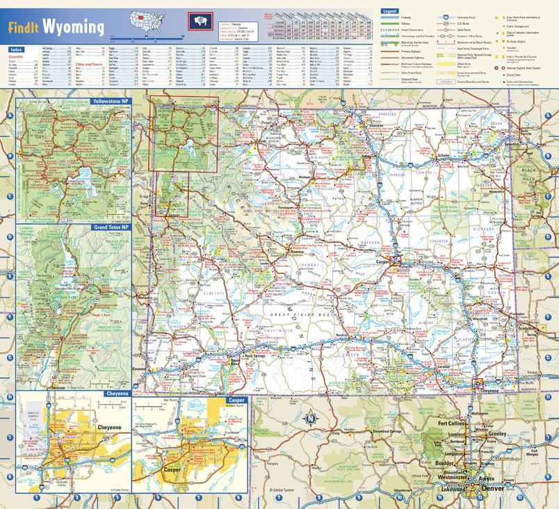 Wyoming State Wall Map