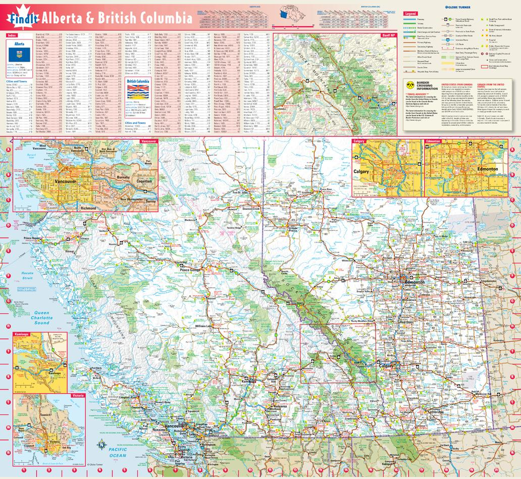 Alberta & British Columbia Wall Map