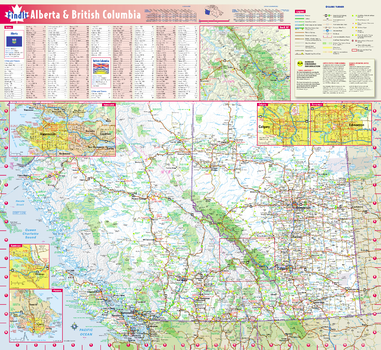 Alberta & British Columbia Wall Map