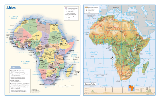 Africa Political & Physical Continent Map