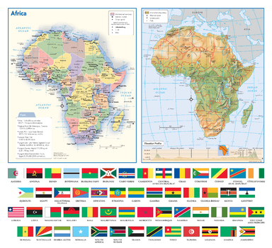 Africa Political & Physical Continent Map with Country Flags