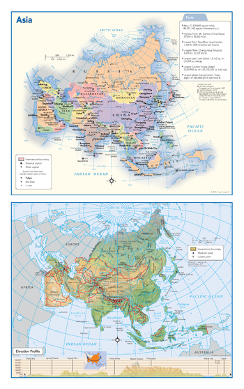 Asia Political & Physical Continent Map