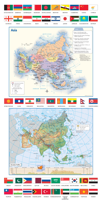 Asia Political & Physical Continent Map with Country Flags