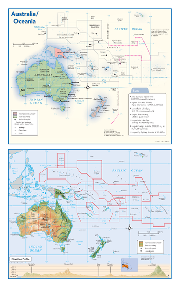 Australia and Oceania Political & Physical Continent Map