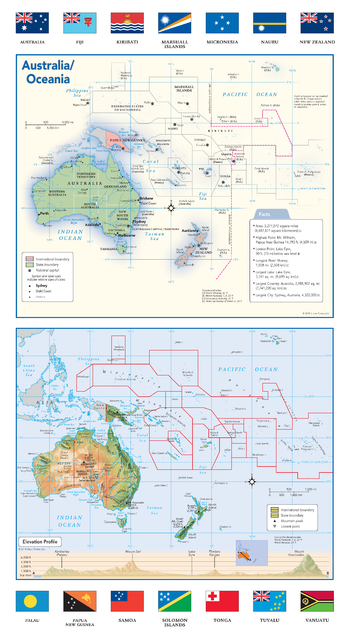 Australia and Oceania Political & Physical Continent Map with Country Flags