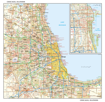 Chicago, Illinois Wall Map, large