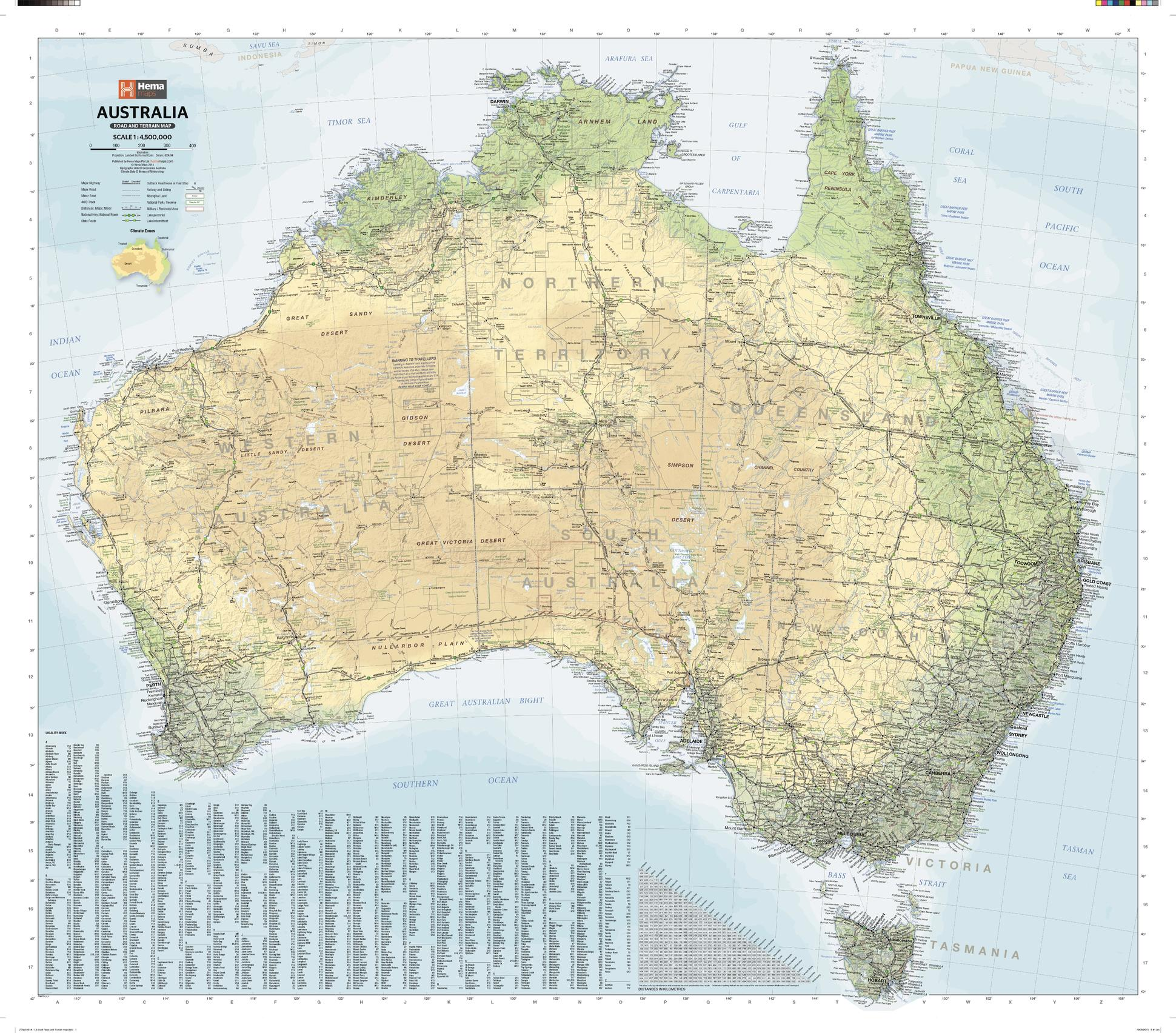 Australia Road & Terrain Map