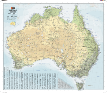 Australia Road & Terrain Wall Map
