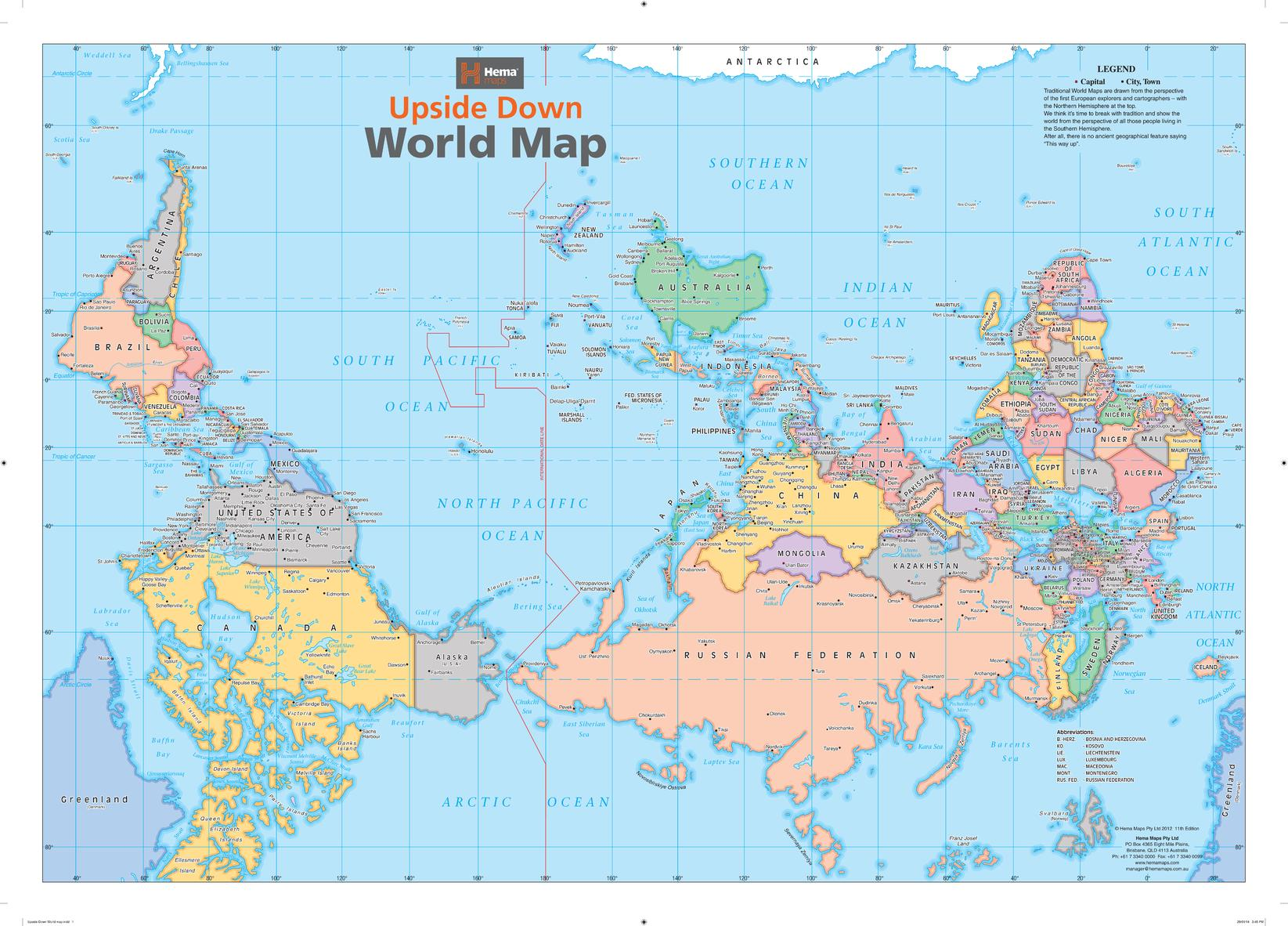 and australia and south america were on top the upside down map of the world will have your guests intrigued and help you rethink the world as you