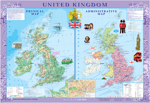 United Kingdom Wall Map - Physical and Political - Extra Large
