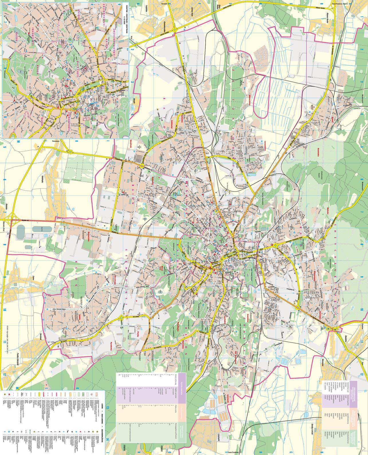 Mapsherpa kartographia place names on the map are written in the ukrainian latin alphabet latynka the map legend is in english polish and german a table shows the translation gumiabroncs Choice Image