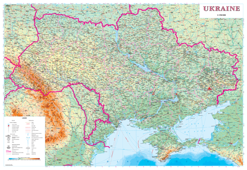 Ukraine Physical Wall Map - Latynka