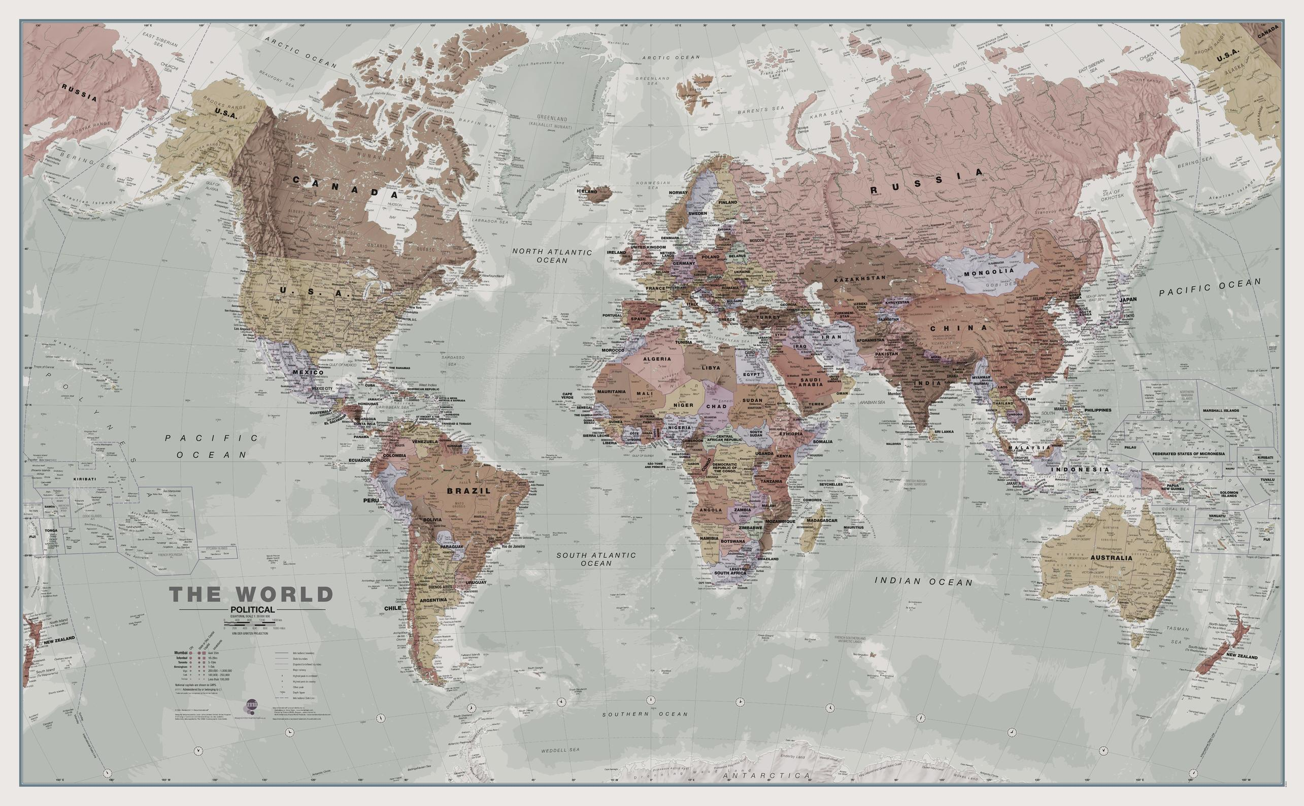 Executive World Wall Map