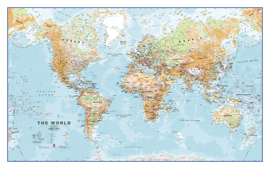 Physical World Wall Map