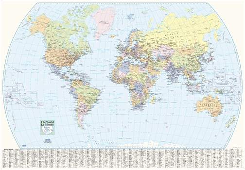World Wall Map with Index - small