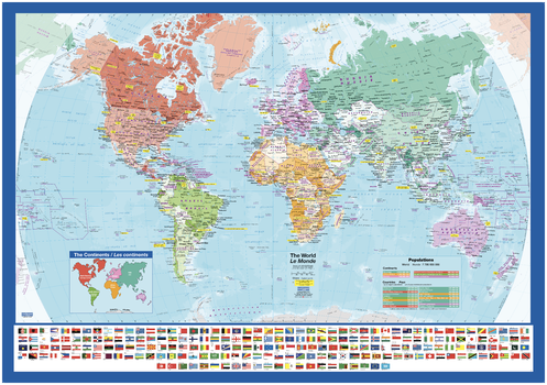 World Wall Map with Flags - small
