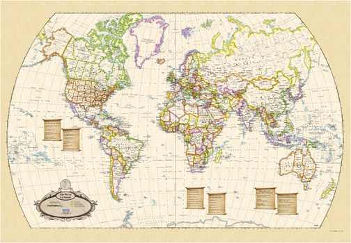Antique World Wall Map - English and French