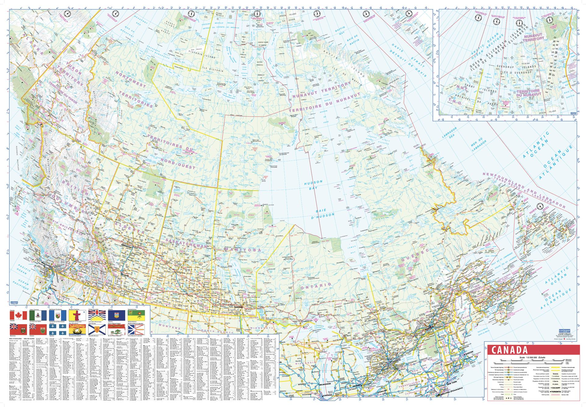 Canada Wall Map with Flags and Index - small