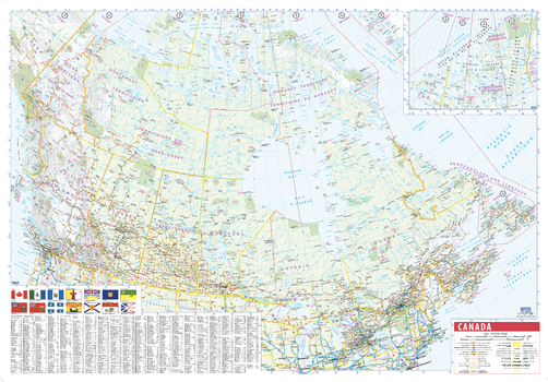 Canada Wall Map with Flags and Index - large