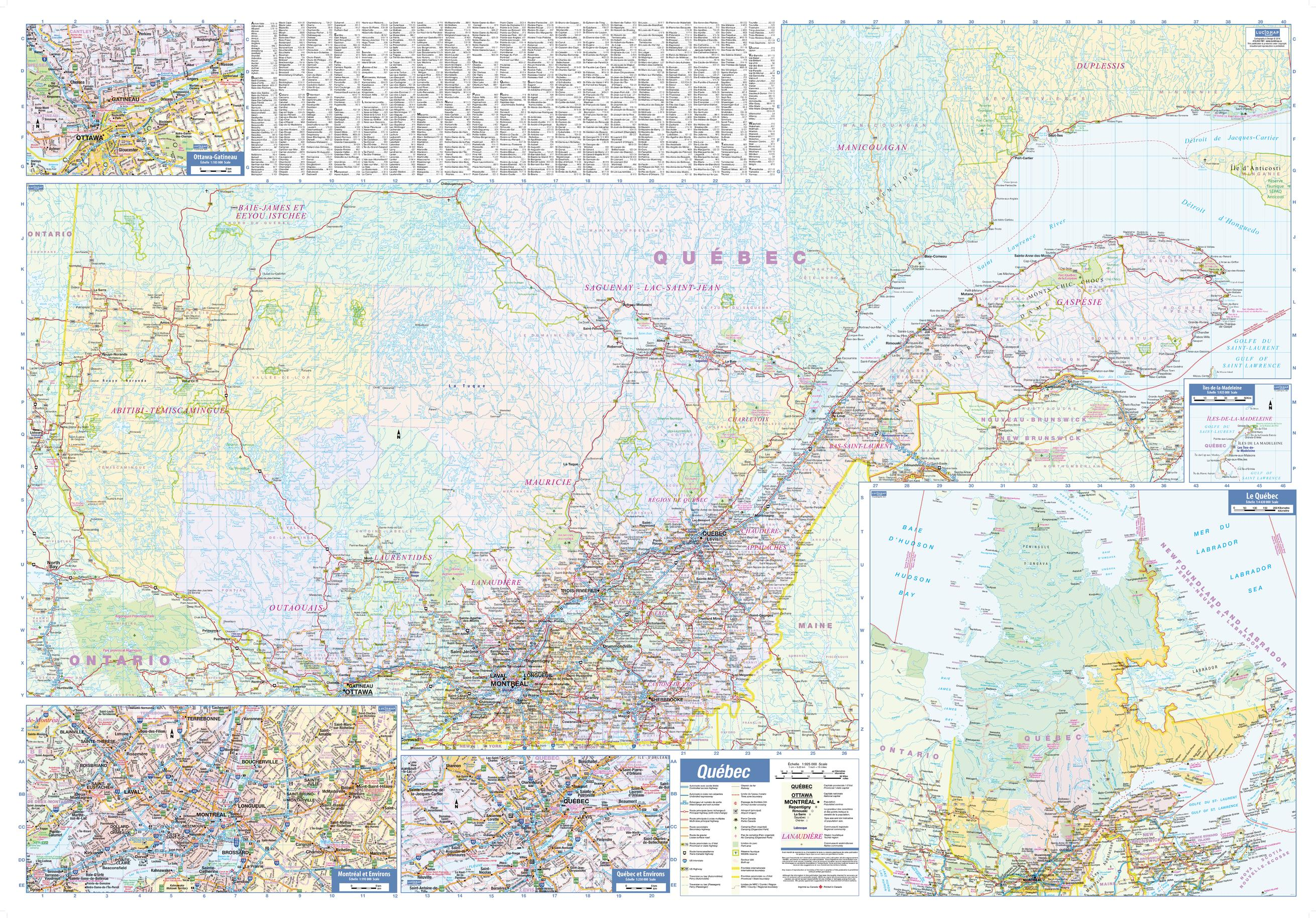 Quebec Province Wall Map with Index - large