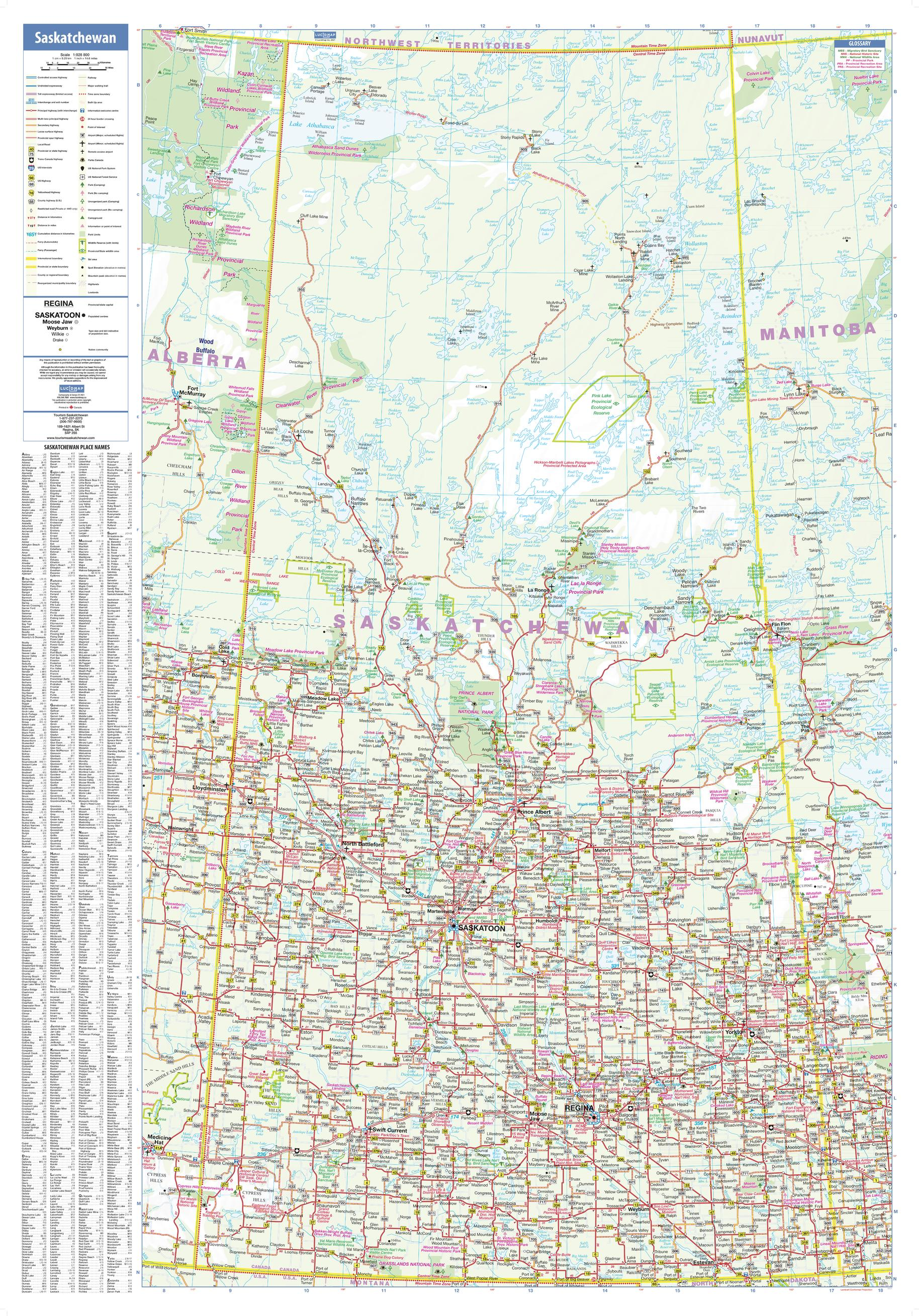 Saskatchewan Wall Map - large